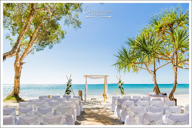 A Sunset Beach ceremony set up.  #kingfisherbay #fraserisland #destinationwedding #fraserislandwedding #fraserwedding http://www.fraserislandweddings.com.au/