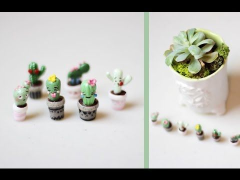 CACTUS EMOJI MINIATURES DIY Polymer Clay Tutorial | World Emoji Day - YouTube