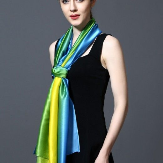 100% hodvábny šál v dúhových farbách 185 x 91 cm - art_01