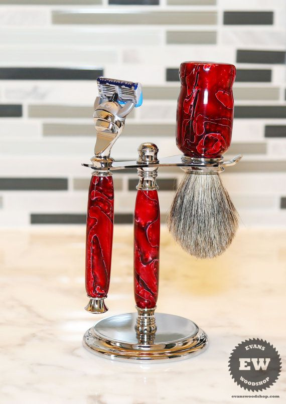 Red Crimson acrylic shaving set. Perfect gift for yourself or a loved one. Complete with razor handle, stand and badger hair brush.