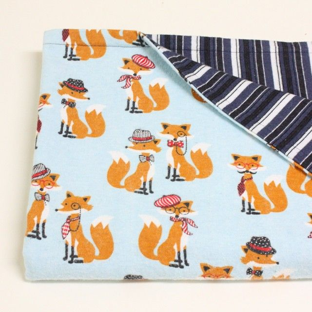 """""""Student project! This foxy cotton flannel baby blanket is so cute. I am so looking forward to the other pieces that are being made. This will make such a…"""""""