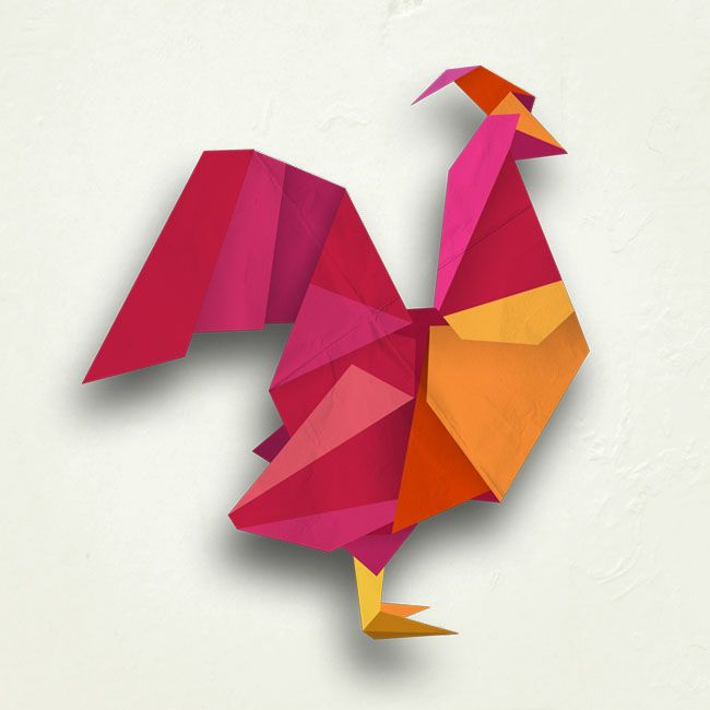 rooster digital origami illustration by mel rodicq origami pinterest. Black Bedroom Furniture Sets. Home Design Ideas