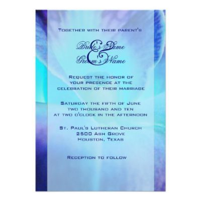 Blue Orchid Wedding Invitation