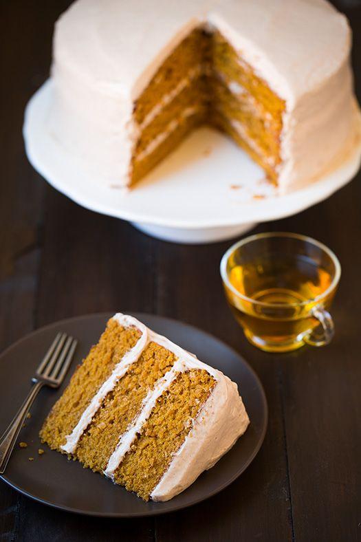 Pumpkin Cake with Cinnamon Cream Cheese Frosting | Recipe