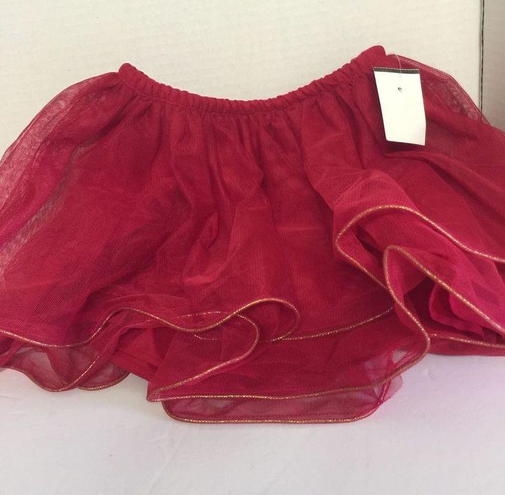 Cherokee Toddler Red Tutu Skirt Gold Trim Size 4T Holiday Christmas #Cherokee #Tutu #ChristmasValentinesDayMemorialDayJuly4thDressyEverydayHoliday