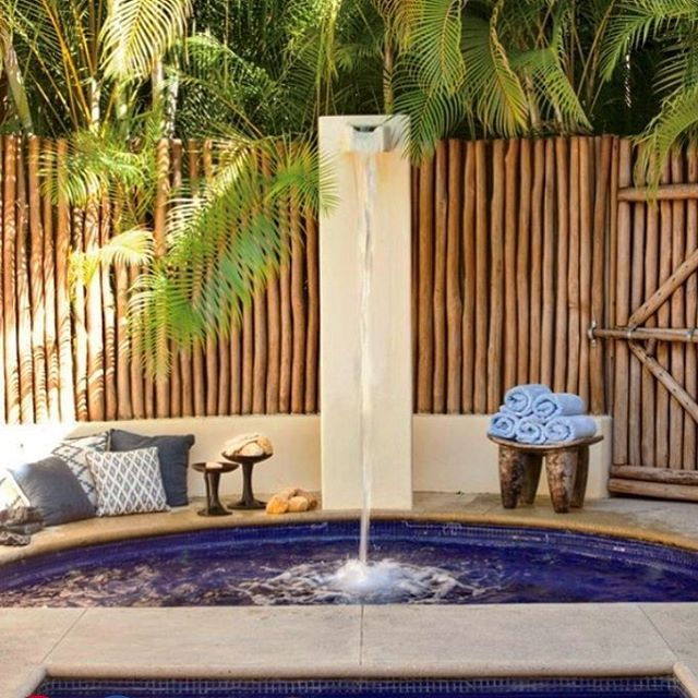 Tbt .... a hidden private garden off the master bedroom of the Punta Mita estate of Joe Francis gives way to a sunken outdoor bath tub and a dramatic , water deluge shower .... as seen on architectural digest .com today ... #privateoasis #mexico