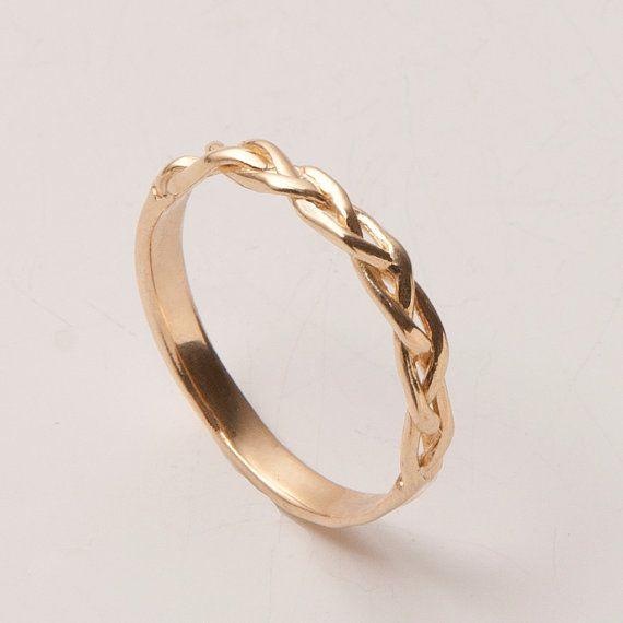 Umflochten - 14K Stapel Ring , Ehering , 14K Gold Ring , Unisex Ring , Hochzeitsring, Trauring, Herrenring