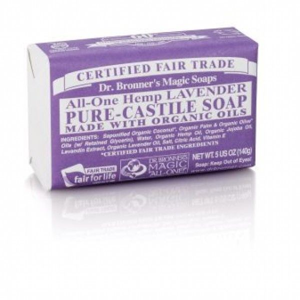 A relaxing fragrance for tired and stressed-out souls, Dr. Bronner's Lavender Castile Bar Soap calms the nerves and soothes the body.