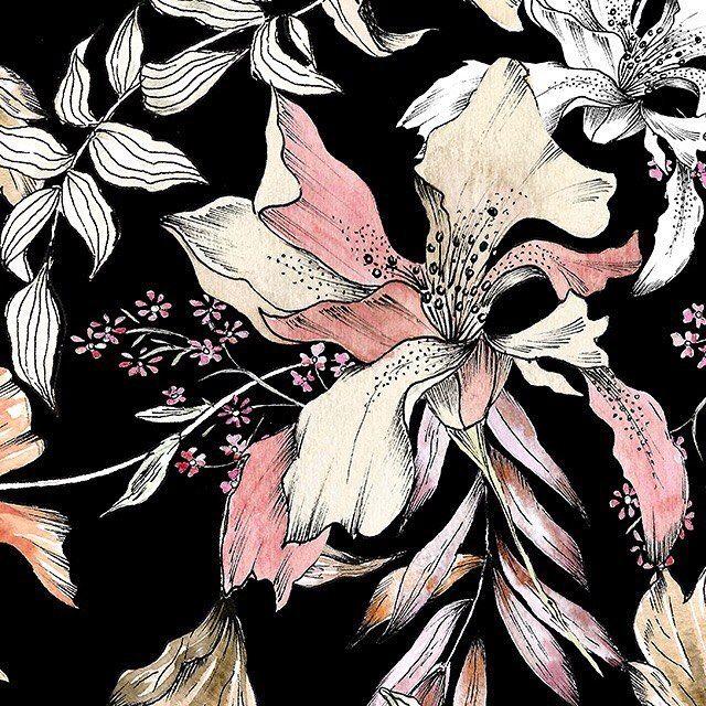 Hand drawn & painted floral designs » https://patternbank.com/mervearuta IG: @ventusdesignstudio