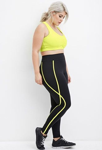 Plus Size Contrast-Trimmed Athletic Leggings | Forever 21 PLUS - 2000180031