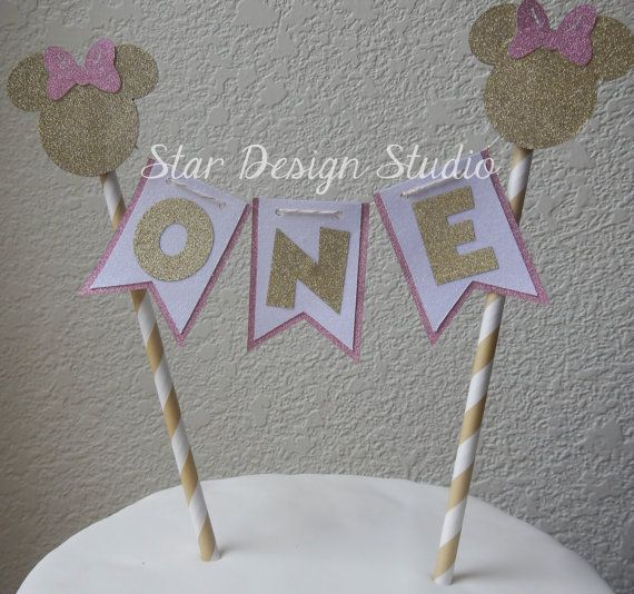 Minnie Mouse Inspired Birthday Cake Topper Birthday bunting- Glitter Gold and Pink