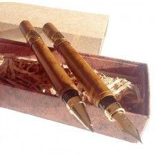 Gravírozható két darabos kubai szivar alakú tollkészlet díszdobozban - Golyóstoll és töltőtoll - Smoke - 2,390Ft - Tollkészletek