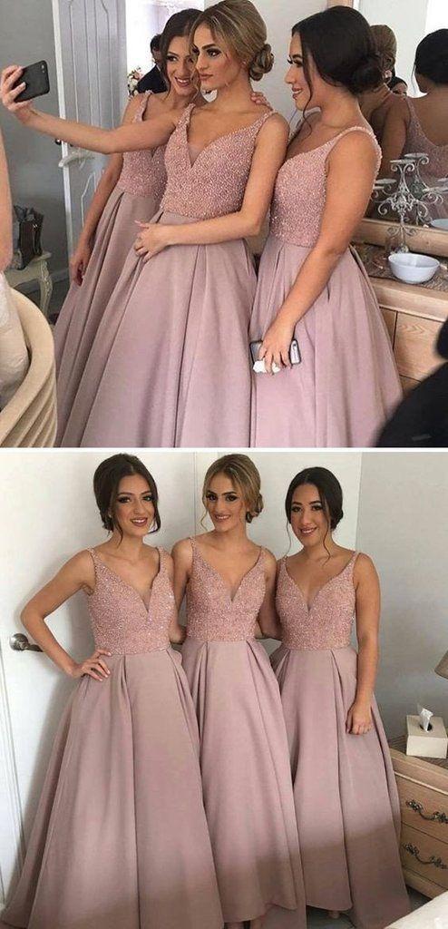 Blush bridesmaid dresses,fall bridesmaid dresses,sexy bridesmaid dresses, beaded bridesmaid dress,BA088
