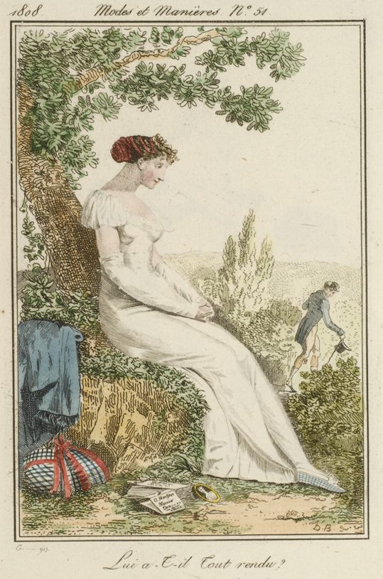 Lady and gentleman. This lover has given back the letters and portrait she gave him, and is slinking off in the background. Modes et Manières du Jour no. 51 by Debucourt