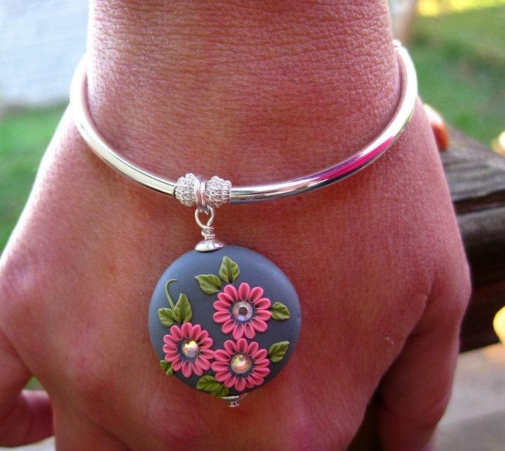 INSPIRATIONAL /    Moobie Grace  - Bracelet - Polymer Clay - Charm -  Flowers - Gray & Coral - Free Shipping. $25.00, via Etsy.
