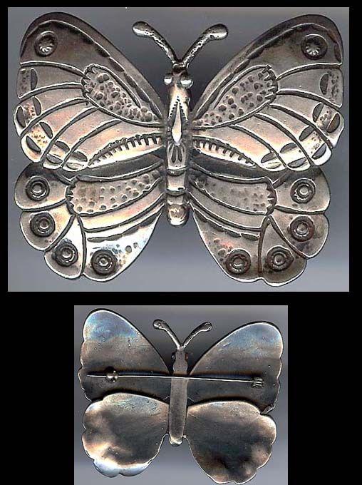 Vintage Navajo Sterling Silver Butterfly Brooch.