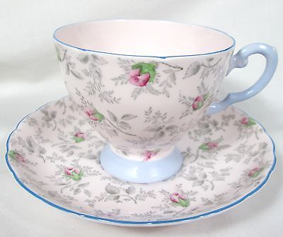 BEAUTIFUL VINTAGE TUSCAN BONE CHINA CUP & SAUCER BLUE & PINK ROSE BUDS FOOTED