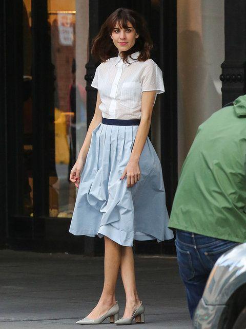 Alexa Chung with long lady-like skirt