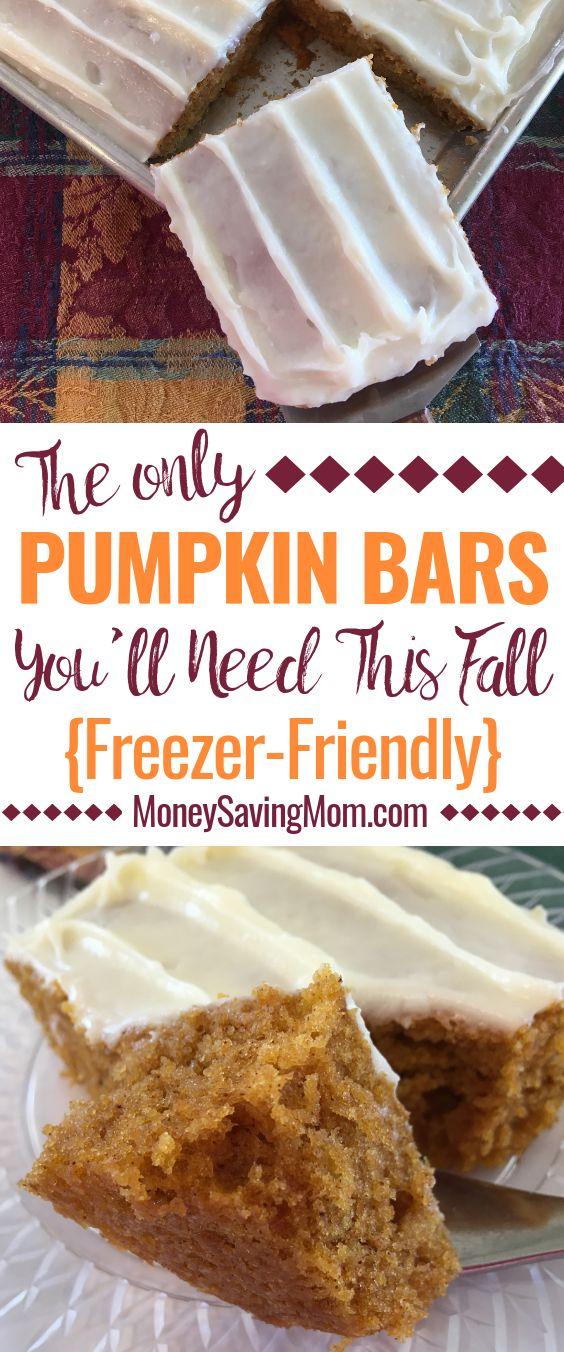 Freezer-Friendly Pumpkin Bars