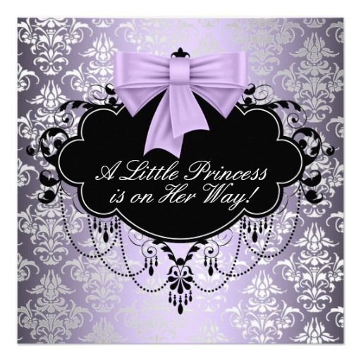 The 426 best silver black baby shower invitations images on silver purple black princess baby girl shower invitation filmwisefo