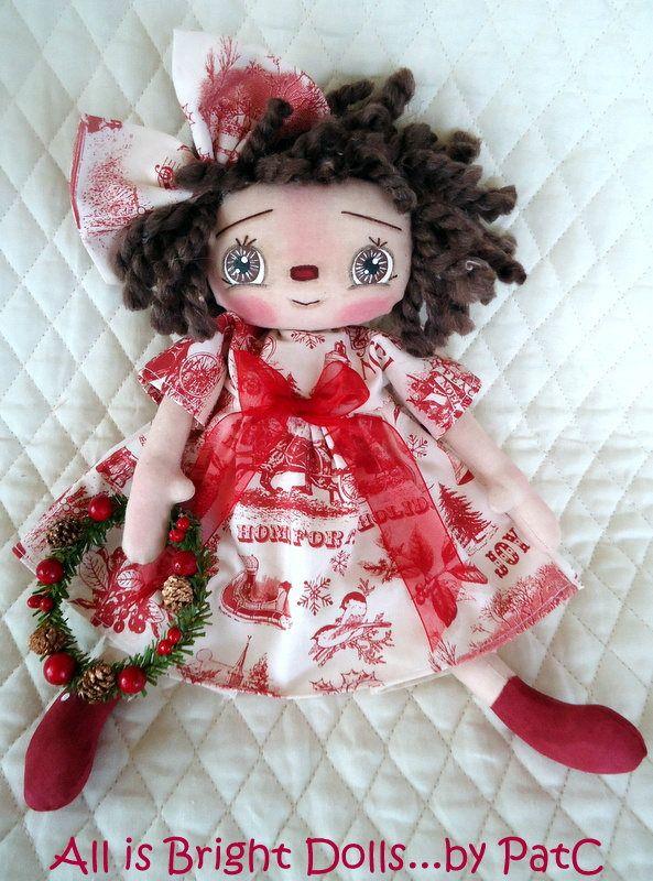 Christmas Annie, Raggedy Ann Doll, Prim Rag Doll, Whimsical Doll, Hand-painted Doll, Country Prim Decor, OOAK, Holiday Doll, 11 inch doll by Allisbright on Etsy