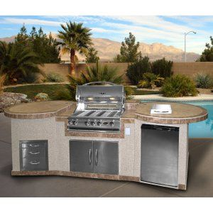 Cal Flame 3 Piece BBQ Island with 4 Burner Natural Gas BBQ Grill - Outdoor Kitchens at Hayneedle