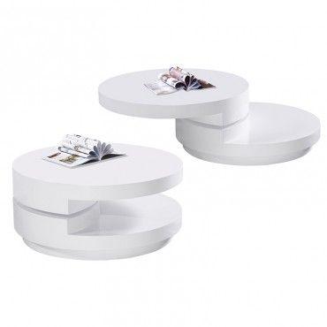 Modern Round White Swivel Coffee Table Anza