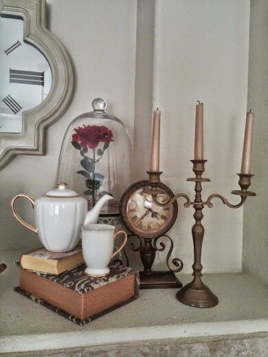 Beauty and the Beast, home decor. #EnchantedRose #Cogsworth #Lumiere #MrsPotts #Chip #DisneyDecor