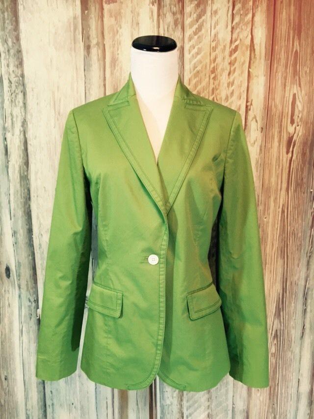 H Hilfiger Tommy Hilfiger Lime Green Blazer Stretch Cotton Preppy Tailored 8 EUC #TommyHilfiger #Blazer