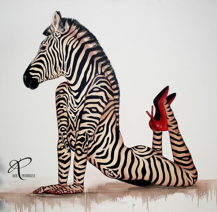 "zebra ""Scarpe rosse""  www.pierangelorita.com 155x150 olio su tela"