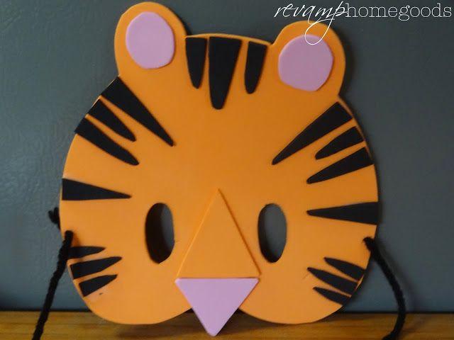 Revamp Homegoods: Kids Crafts: Foam Animal Masks to make with craft foam sheets (Tiger Mask)