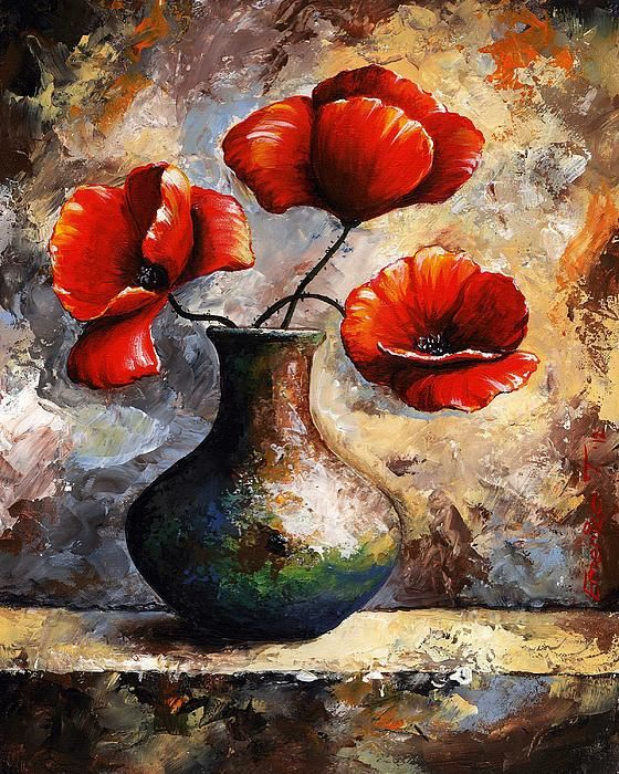 Emerico Toth - Red poppies. Quality print.