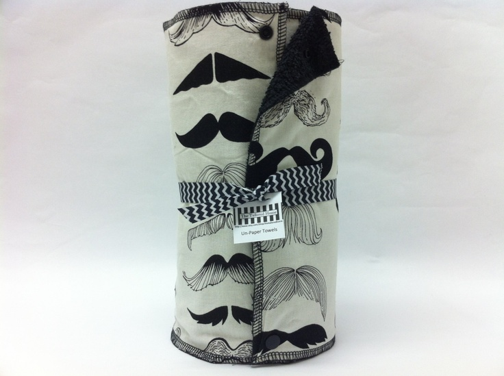 READY TO SHIP - Reusable Paper Towel, Paper Towel, Cloth Paper Towel, Eco Friendly, Towels With Snaps - Mustaches. $45.00, via Etsy.