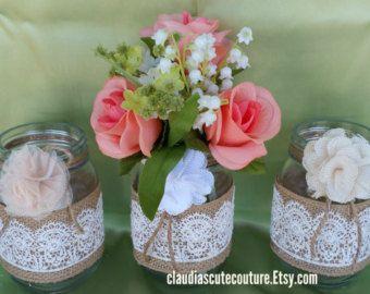 Tarro de masón de arpillera boda rustica boda país tarro de