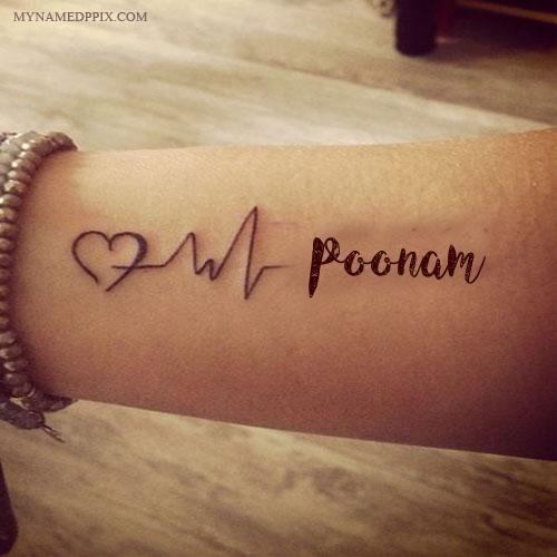 Schreiben Sie Namen auf Liebes-Herzschlag-Tätowierungs-Bild