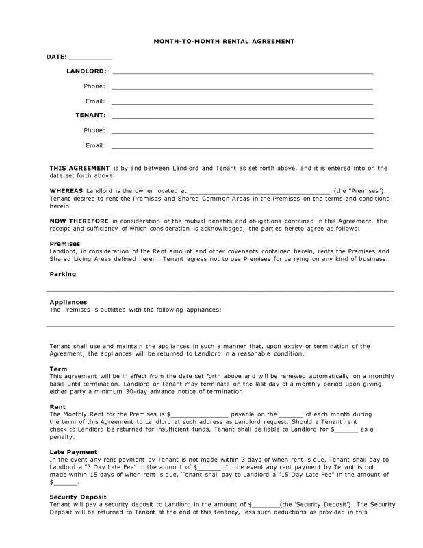 Simple Rental Agreement Month To Month Room Rental Agreement Rental Agreement Templates Arizona Rental