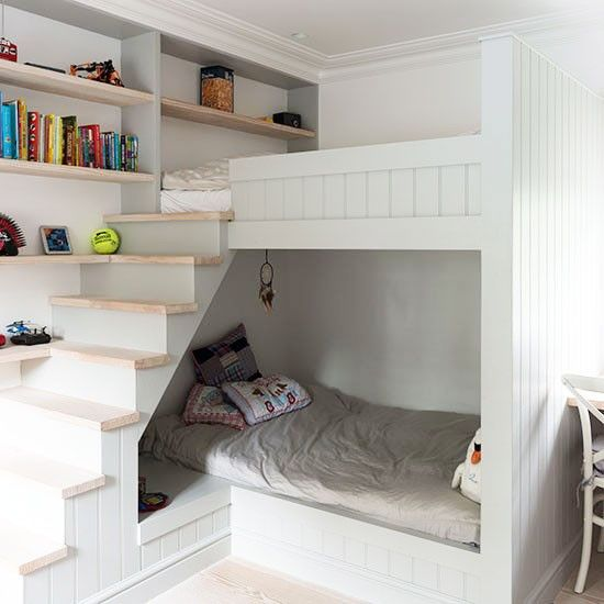 I love this idea for bunks in a child's bedroom from #housetohome - it looks fab and provides extra storage (you could even have little shelves on the underside of the stairs) ♥