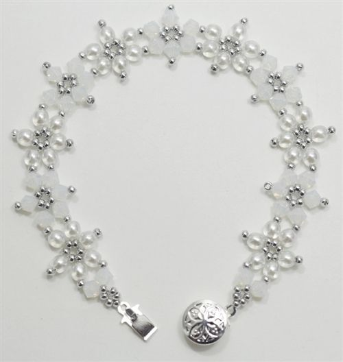 "Crystal Flower - ""Snow"" by Deb Roberti, AroundTheBeadingTable.com"