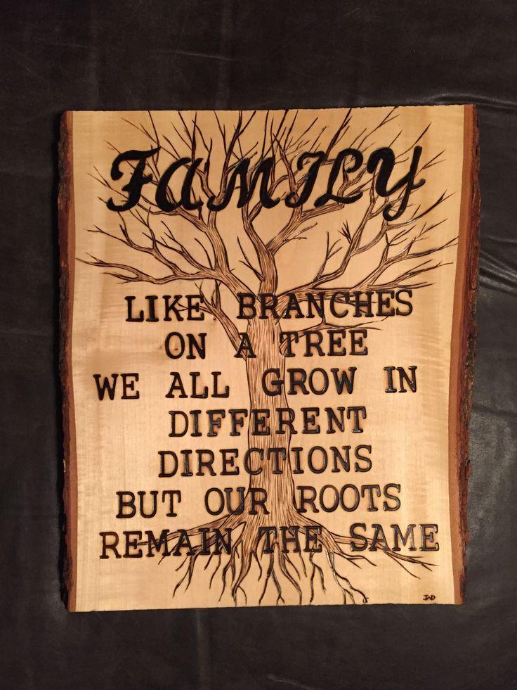 'Family' wood burnt art