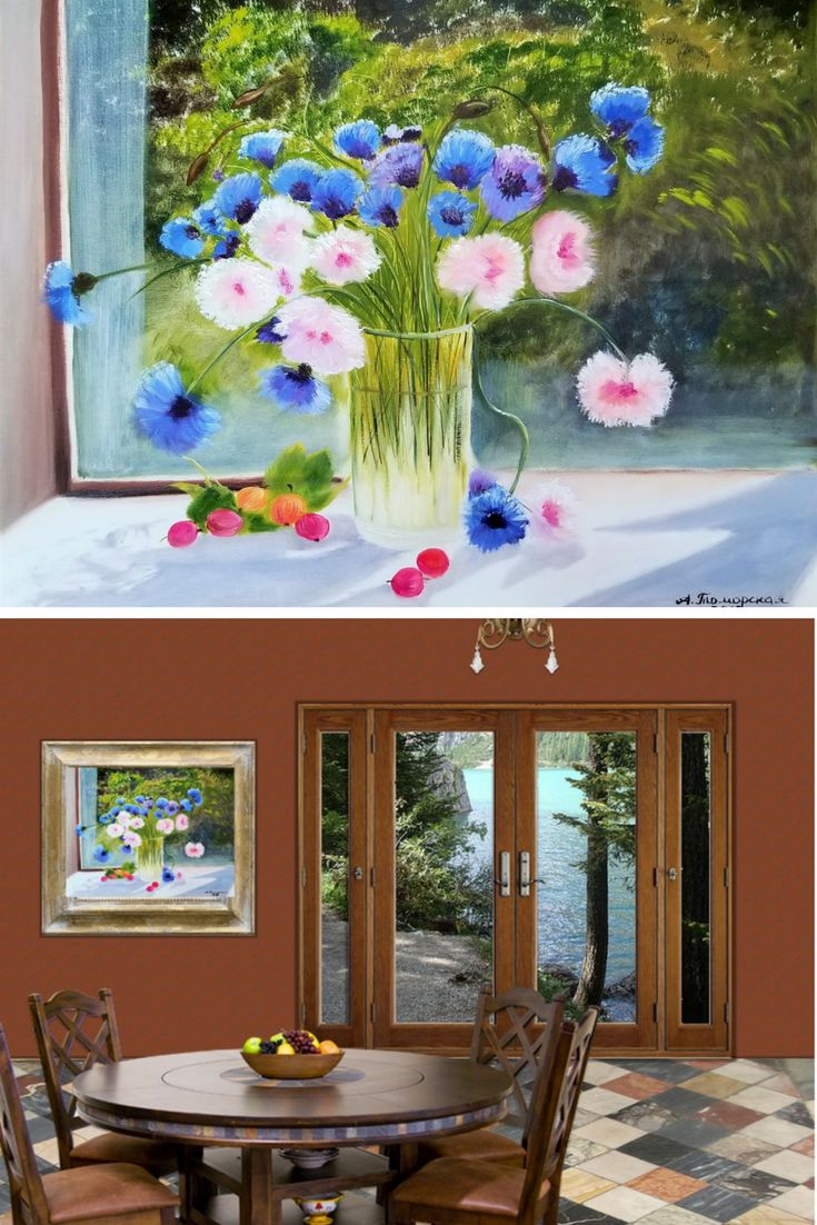 """Vase with Cornflowers and Daisies. Mothers day gift. Gift for mom. Wall Art. Home Decor. Gift for her. Wall Decor. Original Oil Painting on Canvas. 16"""" x 20"""". 40,6 x 50,8 cm. 2018. Unframed. Painted Edges. Ready to Hang. AVAILABLE FOR IMMEDIATE PURCHASE.  #mothersdaygift #mothersday #oilpainting #originalpainting #homedecor #wallart #etsy #etsyseller"""