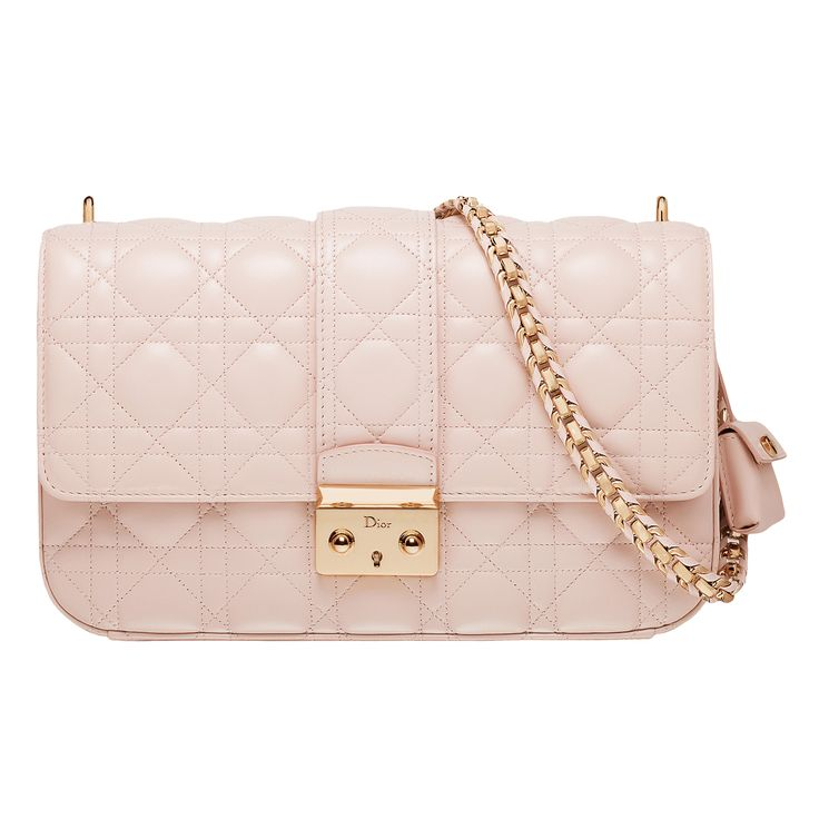 "MISS DIOR - Rose Poudre leather ""Miss Dior"" bag, leather plaited chain."