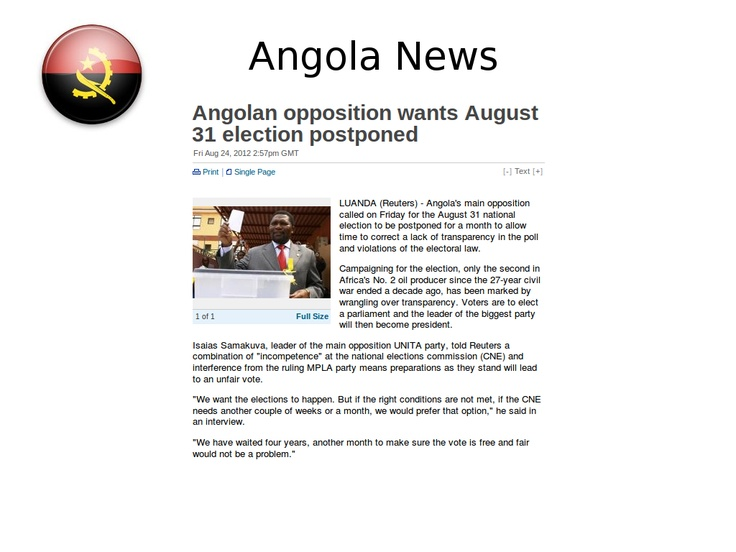 #Angola: Angolan opposition wants August 31 election postponed (Reuters)