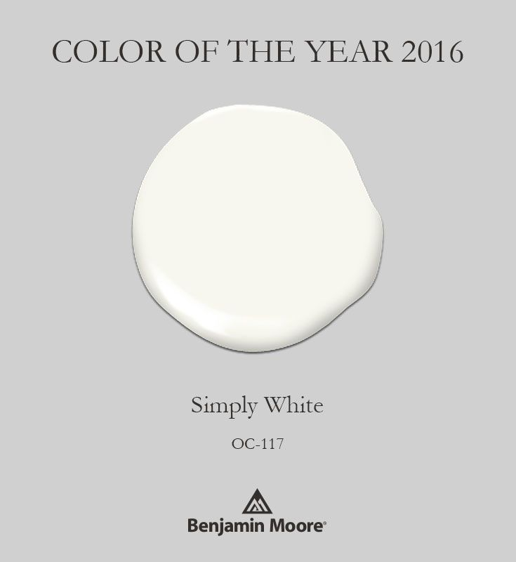 Benjamin Moore's Color of the Year 2016 Simply White OC-117. #ColorTrends2016