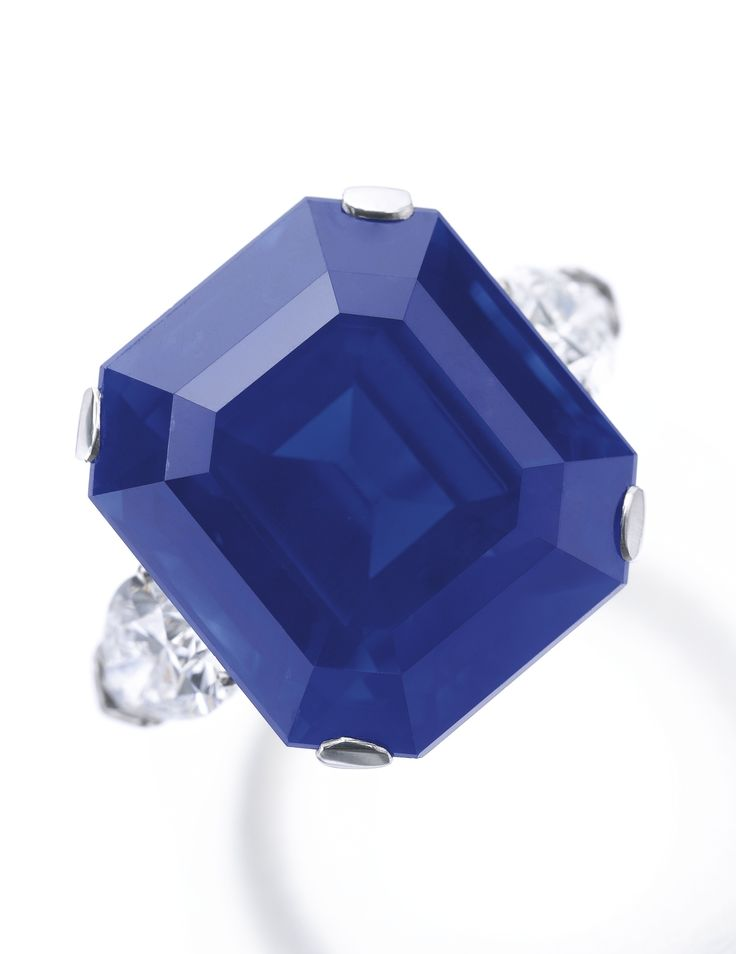 Rare and exceptional sapphire and diamond ring The step-cut sapphire weighing 27.54 carats, set between pear-shaped diamond shoulders. Accompanied by SSEF report no. 60162, dated 5 July 2011, and Gübelin report no. 14090068, dated 15 September 2014, both stating that the sapphire is of Kashmir origin, with no indications of heating