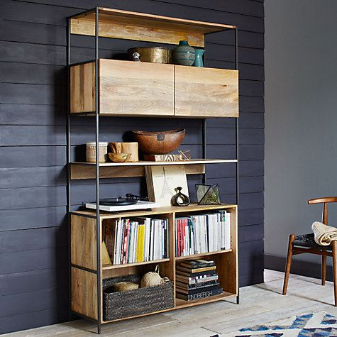 Buy west elm Industrial Modular 124cm Open and Closed Storage Bookshelf Online at johnlewis.com