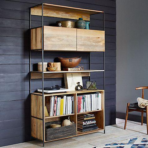 Buy west elm Industrial Modular 124cm Open and Closed Storage Bookshelf Online at johnlewis.com