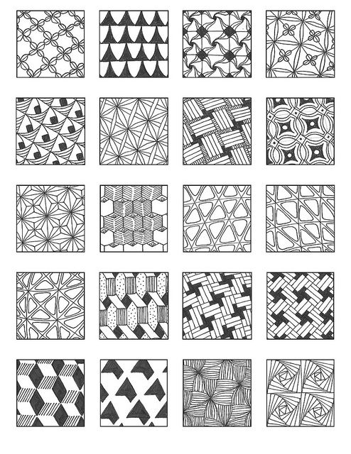 ZENTANGLE PATTERNS grid 5 via Flickr