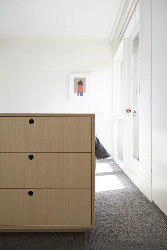 foomann - architecture + design | haines street, north melbourne, bedroom sunlight, bamboo drawer unit, natural grey wool loop pile carpet