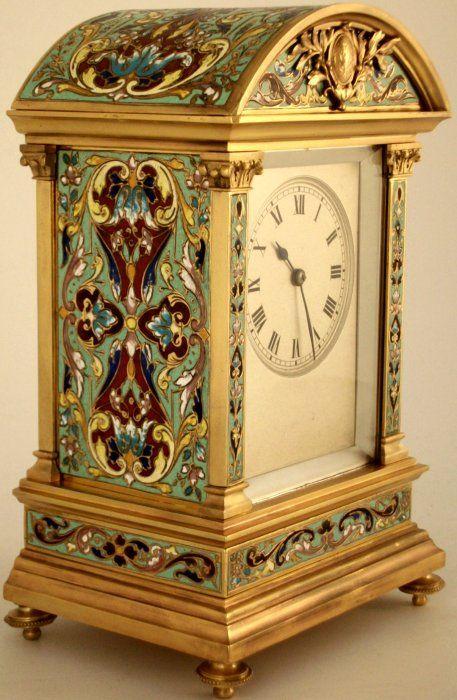 Antique French Champleve Enamel Striking Mantel Clock - E.M.  Co., Paris, France c.1890
