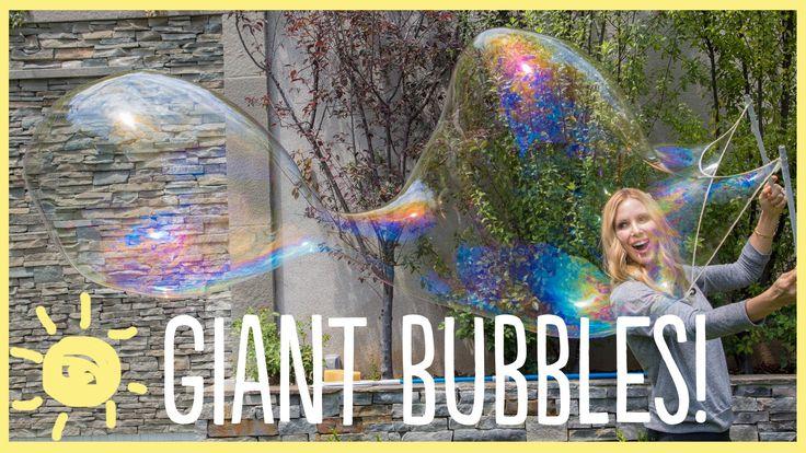 DIY | How To Make Giant Bubbles!   Supplies: Dawn Liquid Dish Soap 8oz Guar Gum 1Tbsp Baking Powder 1Tbsp Water 16 cups Cotton String or Rope 2 Sticks Washer